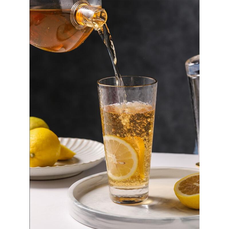 法兰晶 玻璃杯套装金边锤纹水杯杯具水杯口杯玻璃果汁杯子杯架套装威士忌酒杯沥水架杯架 【2只装】金边2号杯300ML