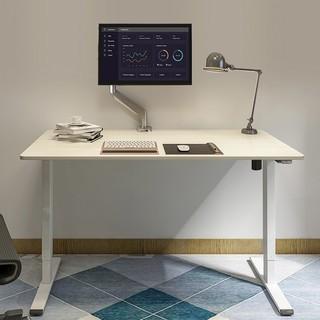 Loctek 乐歌 E2S系列 电动升降电脑桌 白腿+1m直角原木色桌板 厚板16mm