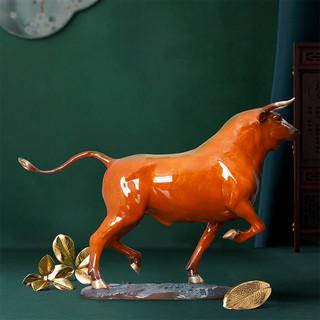 铜艺世家 焱彩灼色系列 锦绣前程黄铜牛摆件