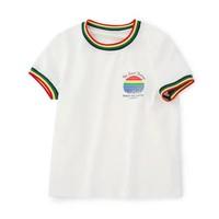 balabala 巴拉巴拉 女童复古彩虹条短袖