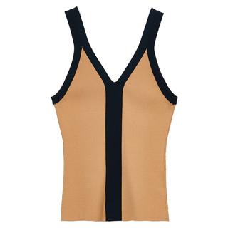 MIIDII/谜底21夏新品修身V领背心针织衫女单穿内搭打底212MZ1228 深绿 M