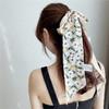 迪格丝达 韩国洋气百搭丝巾小长条法式复古装饰丝巾发带绑包飘带领巾搭西装 油画玉兰米黄