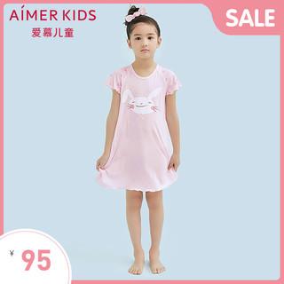 Aimer 爱慕 爱慕儿童天使爱兔儿女童睡裙莫代尔女孩短袖睡衣夏季薄AK1440882