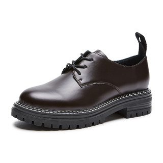 hotwind 热风 新款女士时尚休闲单鞋英伦学院风中跟小皮鞋女