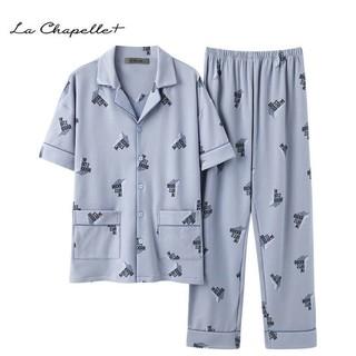 La Chapelle 拉夏贝尔 La Chapelle+男士睡衣夏季纯棉短袖长裤青少年薄款夏天家居服套装