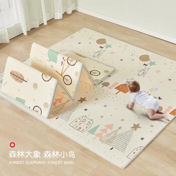 mloong 曼龙 曼龙爬行垫可折叠宝宝儿童地垫XPE环保爬爬垫加厚家用婴儿客厅 森林大象 森林小鸟195*148*1cm升级包边款