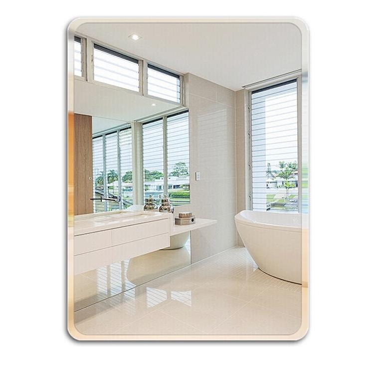 幸福码头 浴室镜子免打孔镜子贴墙无框洗手间卫浴镜穿衣镜卫生间镜壁挂化妆镜子 直角30*42(粘胶 免钉胶)