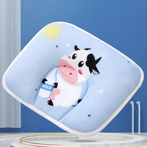 9i9 久爱久 婴儿枕头定型枕宝宝枕头纯棉新生儿枕头卡通透气可拆洗枕套牛年新款浅蓝21A001