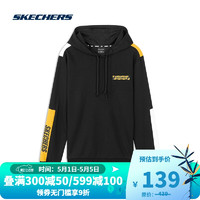 SKECHERS 斯凯奇  斯凯奇Skechers男子针织连帽衫时尚拼色运动卫衣L320M195 碳黑0018 M