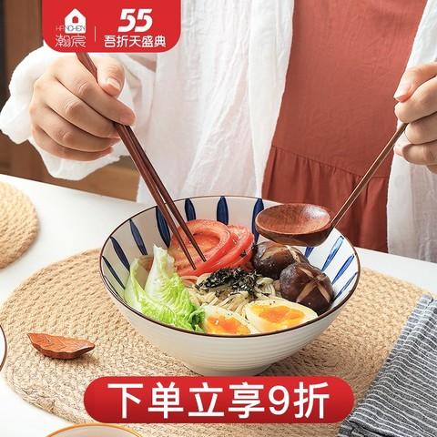 日式拉面碗家用大碗创意加厚斗笠陶瓷餐具泡面大号可爱汤碗面条碗