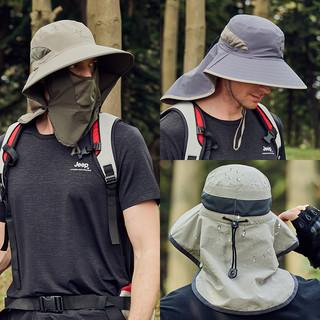 防晒帽男士夏季户外钓鱼帽子大檐垂钓渔夫帽透气遮脸太阳帽遮阳帽