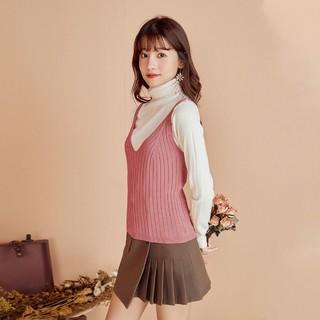 Puella 拉夏贝尔旗下女式吊带背心秋季新款韩版纯色针织衫无袖V领上衣