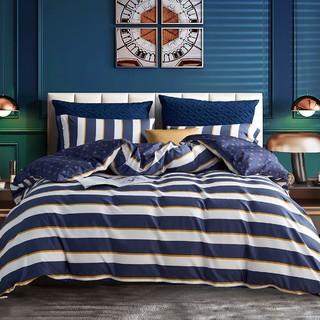MENDALE 梦洁家纺 梦洁出品全棉水洗棉条纹单双人床单被套床上用品纯棉三四件套