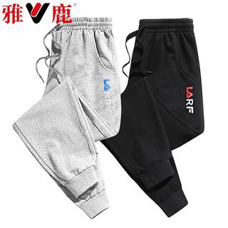 YALU 雅鹿 雅鹿(YALU)时尚休闲男士运动休闲束脚长裤 灰色枫叶+黑色红标 XL
