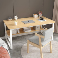 沃变 台式电脑桌书桌 田园橡木色+白架