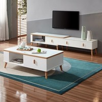 QuanU 全友 DW1001-1 岩板茶几+岩板伸缩电视柜