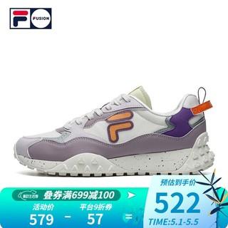 FILA 斐乐 FILA FUSION 斐乐潮牌女子潮流运动鞋2021春夏新款时尚街头休闲鞋 奶白/丁香灰-GG 38.5