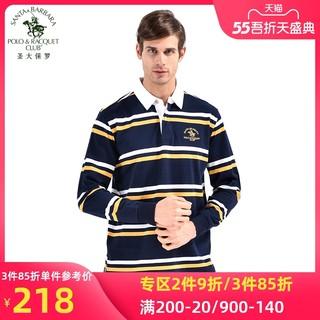 S.B.P.R.C/圣大保罗 男士休闲条纹长袖T恤丝光棉POLO衫PS13KT005