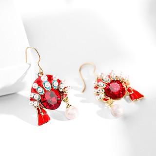 春款上新中国风银针个性古风脸谱耳环耳坠气质古典红色耳饰