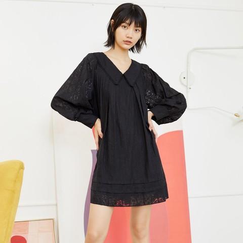 ONLY 2020春夏新款长袖短款宽松黑色拼接小个子连衣裙女 120307239