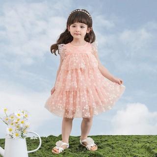 杰里贝比 女童裙子童装婴幼儿公主裙女宝宝夏季连衣裙小童洋气夏装 粉色 130CM