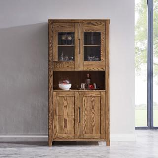 光明家具 实木酒柜北欧餐厅置物柜客厅多用储物柜橡木书柜27339 酒柜