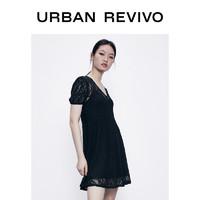 URBAN REVIVO YU14R7EN2000 女装收腰蕾丝连衣裙