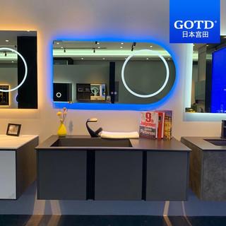 日本(GOTD)高端黑色一体岩板盆浴室柜可定制  100cm