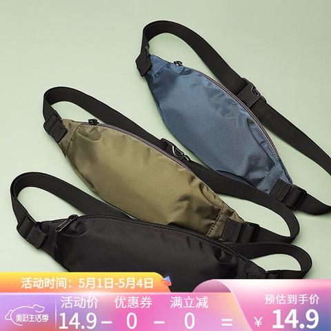 SPACEMAN 斯帕曼 斯帕曼运动跑步腰包男户外休闲胸包女帆布斜挎包多功能男士徒步休闲手机包 颜色随机