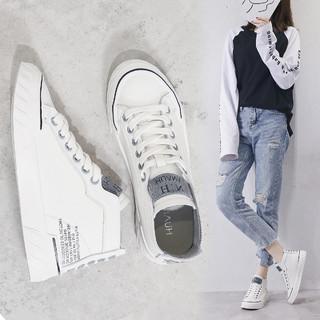 huanai 华耐 舒适真皮高帮鞋女21春季新款休闲鞋韩版百搭小白鞋白色板鞋女