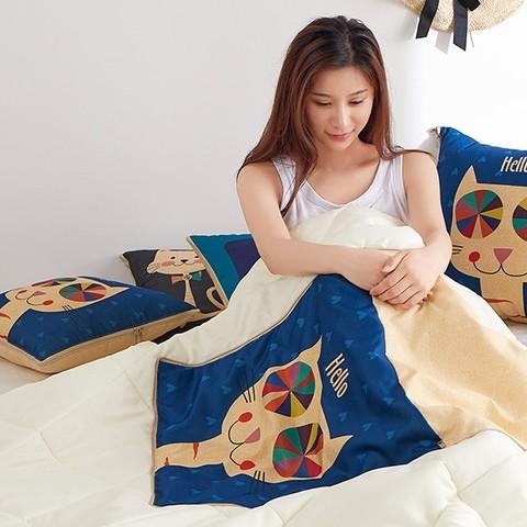 snugdream 思内阁 珊瑚绒冬季抱枕被子两用枕头汽车载午睡办公室靠枕折叠毯子二合一