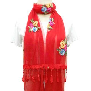 网红围巾女韩版女士刺绣花朵双层拼接民族风披肩纱巾秋季薄丝巾冬