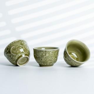 青瓷 精刻龙凤陶瓷主人杯 暖黄