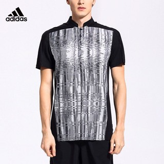 adidas Originals 阿迪达斯 Adidas 短袖T恤男夏季运动polo衫休闲羽毛球服AC5014 黑色 L