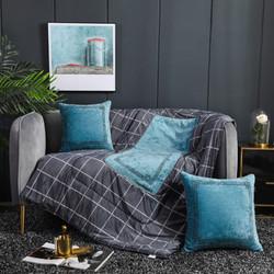 琳豆豆  抱枕被两用加厚四季雪尼尔绣花绒毯子汽车靠垫枕折叠被 卡兰 (3) 40X40cm(打开105*150)