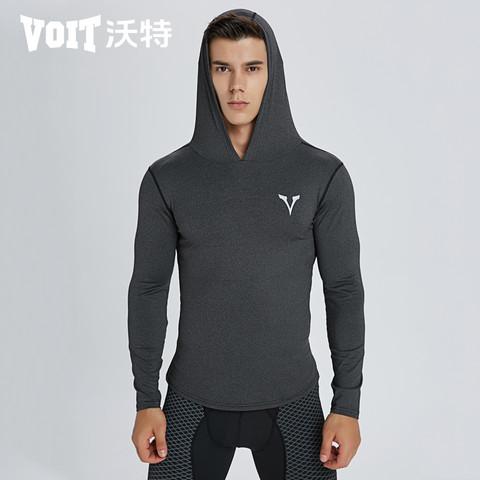 VOIT 沃特 沃特运动健身连帽跑步T恤篮球紧身衣压缩衣训练服男长袖2020新款