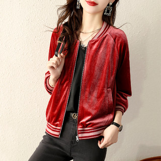 KEMANYA 珂曼雅 韩版时尚简约休闲丝绒优雅减龄春款夹克外套女上衣