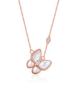 蝴蝶项链女白贝母纯银轻奢小众锁骨链简约气质设计2021年新款饰品