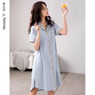 家乐芬 睡裙女士睡衣裙子夏季纯棉短袖全棉夏天薄款衬衫开衫长款长裙大码