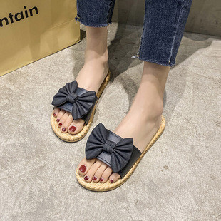 X.VL 仿藤编时尚女拖鞋
