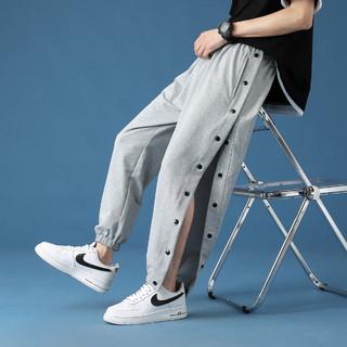 C&A 运动裤男士夏季薄款宽松休闲九分排扣裤子青少年直筒哈伦束脚长裤
