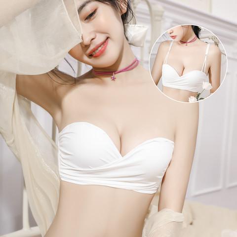 莫代尔 无肩带内衣防滑聚拢夏季新款女士薄款美背抹胸无钢圈隐形文胸罩