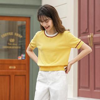 INMAN 茵曼 2021夏季新女款圆领撞色领口袖口条纹罗纹短款针织衫t恤女