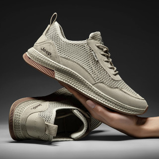 JEEP 吉普 2021春季新款时尚男鞋跑步鞋夏季网面透气运动鞋男士休闲鞋
