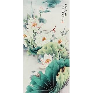 弘舍 新中式玄关装饰画 80×150cm 国画荷花 一堂和气 田园柚木 一堂和气