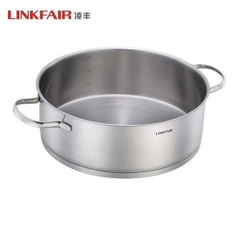 LINKFAIR 凌丰 凌丰(LINKFAIR) 304不锈钢火锅锅具 大容量汤锅 双耳复底加厚 煤气电磁炉通用 LFDTG-GJ30SC01(30cm)