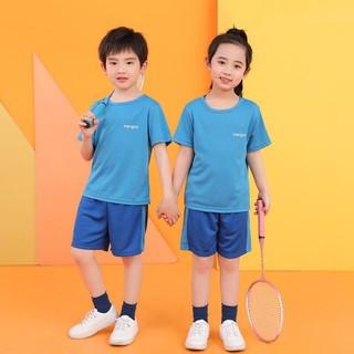 珑淼轩 夏季新款儿童运动球服网眼布套装男童女童中大童短袖家居服套装 浅蓝色 140