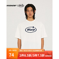 ViiSHOW VIISHOW2021夏季新品短袖T恤男士潮牌lcity boy棉半袖上衣情侣装 白色 170/M