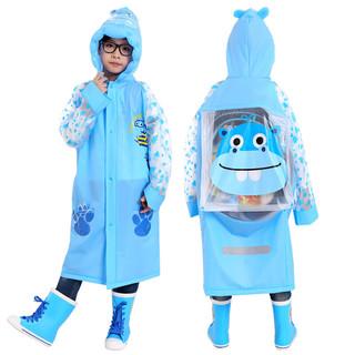 Mefine 明嘉 明嘉儿童雨衣男童雨衣女童小孩学生雨披 蓝色河马 XL