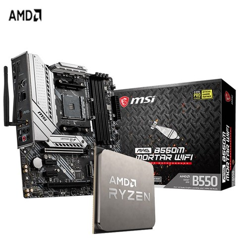 AMD  微星 MAG B550M MORTAR WIFI R7 5800X CPU+主板套装